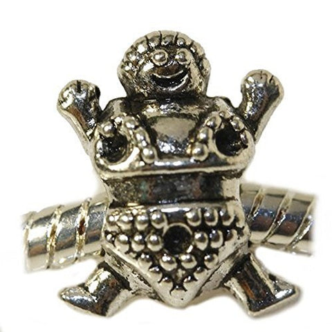 Sumo Wrestler Charm European Bead Compatible for Most European Snake Chain Bracelet - Sexy Sparkles Fashion Jewelry - 1
