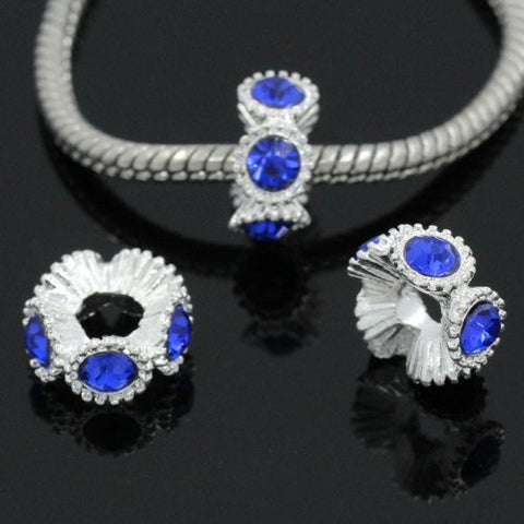 Flower with Royal Blue Rhinestones Charm Spacer For Snake Chain Charm Bracelets - Sexy Sparkles Fashion Jewelry - 3