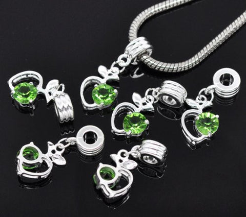 Green Rhinestone Apple Heart Dangle Bead Compatible for Most European Snake Chain Braceletfor Snake Chain Bracelet - Sexy Sparkles Fashion Jewelry - 3