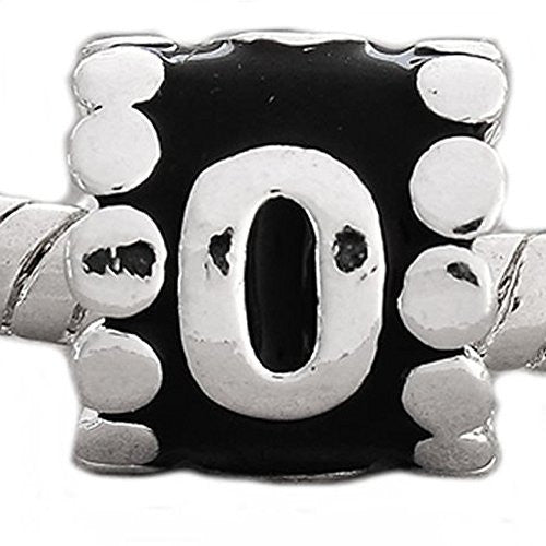 "Black Enamel Number Charm Bead  ""0"" European Bead Compatible for Most European Snake Chain Charm Bracelets - Sexy Sparkles Fashion Jewelry - 1"
