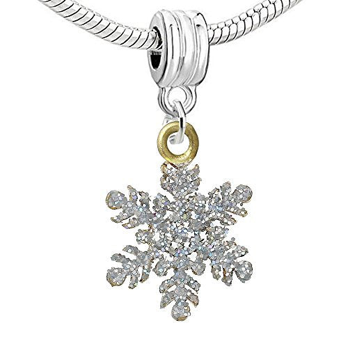 Christmas Snow Flake Dangle Charm Bead for European Snake Chain Charm Bracelet