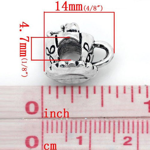 Mouse and Heart Inside Tea/coffee Cup European Bead Compatible for Most European Snake Chain Bracelet - Sexy Sparkles Fashion Jewelry - 2