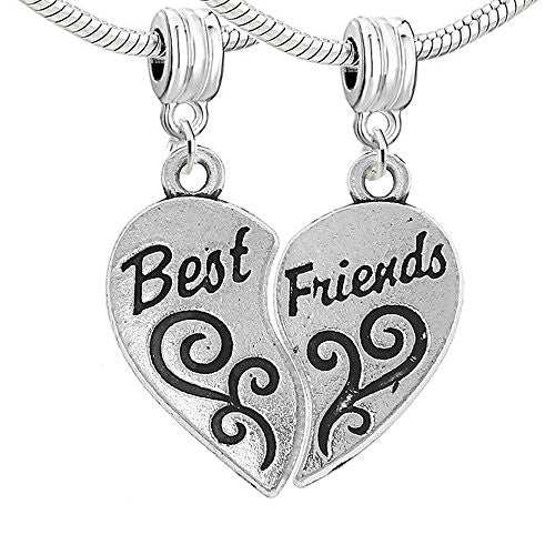 Two Piece (2) Heart Best Friends Dangle Charm European Bead Compatible for Most European Snake Chain Bracelet