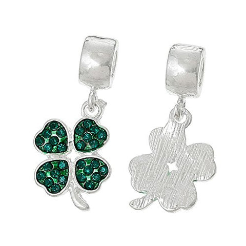 Four Leaf Clover With Green ed Crystals Charm Bead - Sexy Sparkles Fashion Jewelry - 2