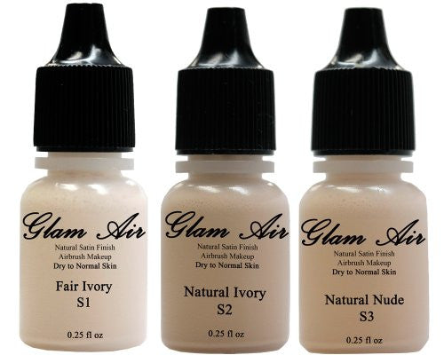 Glam Air Airbrush Water-based Foundation in Set of Three (3) Assorted Light Satin Shades S1-S2-S3 0.25oz - Sexy Sparkles Fashion Jewelry - 1