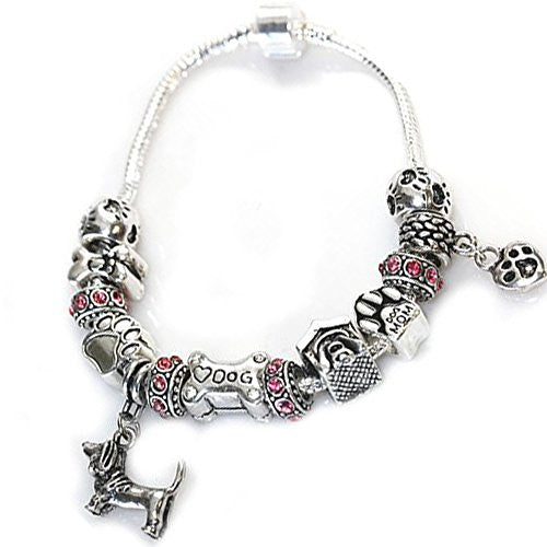 "6.5"" Dog Lovers Snake Chain Charm Bracelet with Charms"