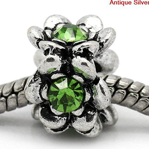 Flower With Green Birthstone European Bead Compatible for Most European Snake Chain Bracelet