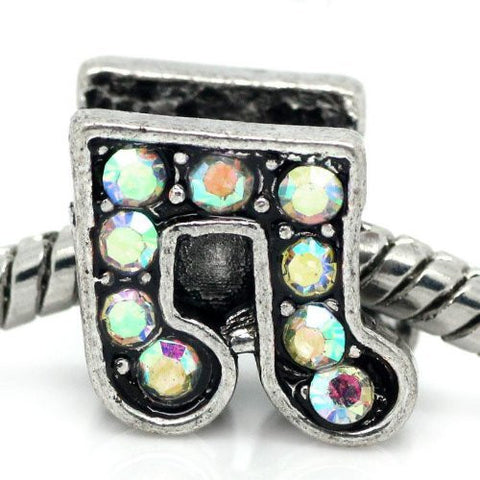 Rhinestone Music Note Charm Bead Spacer for Snake Charm Bracelets (Iridescent) - Sexy Sparkles Fashion Jewelry - 4