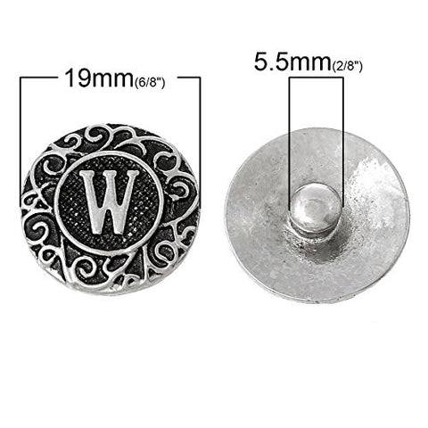 Alphabet Letter W Chunk Snap Button or Pendant Fits Snaps Chunk Bracelet - Sexy Sparkles Fashion Jewelry - 3