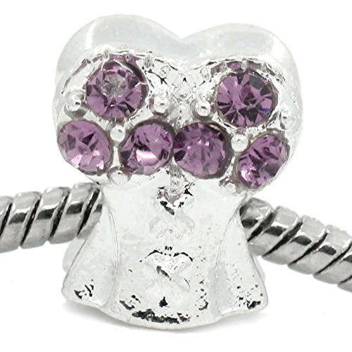 Purple Corset Top with Rhinestone Charm Bead Spacer For Snake Chain Bracelets