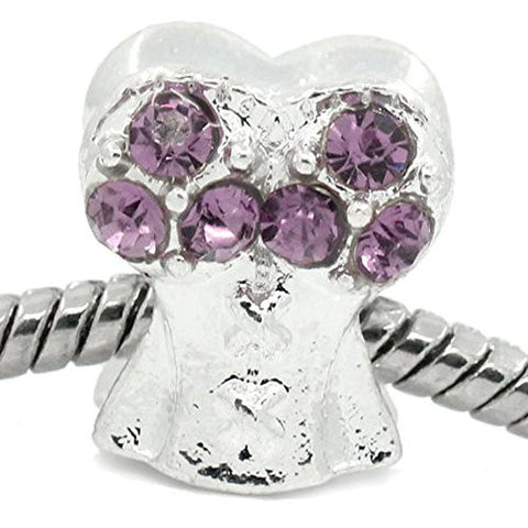 Purple Corset Top with Rhinestone Charm Bead Spacer For Snake Chain Bracelets - Sexy Sparkles Fashion Jewelry - 1
