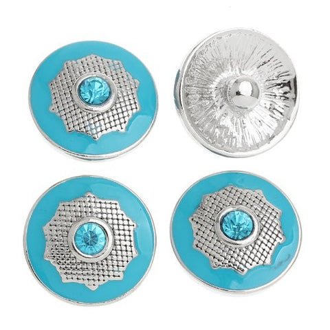 Chunk Snap Buttons Fit Chunk Bracelet Round Silver Tone Enamel Blue Polygon Pattern Carved Blue Rhinestone 20mm - Sexy Sparkles Fashion Jewelry - 4