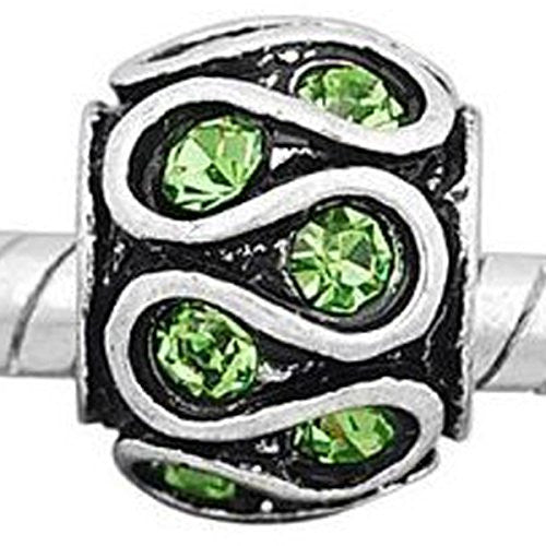 Lt Green  Rhinestone Spacer Bead European Bead Compatible for Most European Snake Chain Charm Bracelet