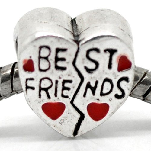 """Best Friends""Charm Heart European Bead Compatible for Most European Snake Chain Bracelet"