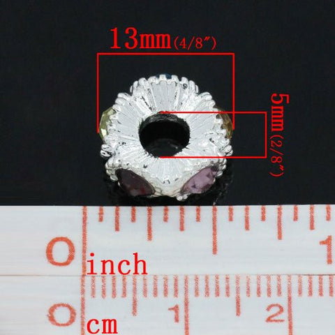 Flower with Multi  Rhinestones Charm Spacer For Snake Chain Charm Bracelets - Sexy Sparkles Fashion Jewelry - 2