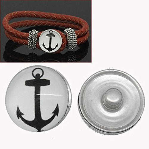 Anchor Design Glass Chunk Charm Button Fits Chunk Bracelet 18mm for Noosa Style Chunk Leather Bracelet