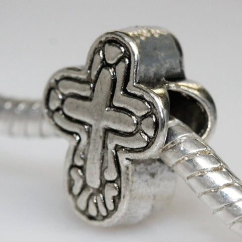 Cross Charm Slide on Bead Spacer European Bead Compatible for Most European Snake Chain Charm Bracelet - Sexy Sparkles Fashion Jewelry - 3