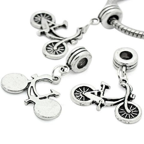 Silver Tone Bicycle Dangle Spacer Beads For Snake Chain Charm Bracelet - Sexy Sparkles Fashion Jewelry - 3