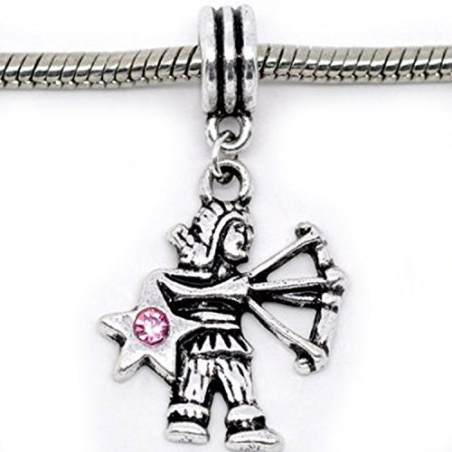 Sagittarius Zodiac Charm W/pink Crystal Dangle Bead for Snake Bracelets