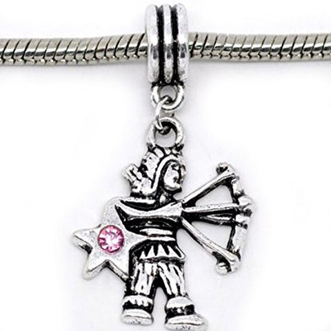 Sagittarius Zodiac Charm W/pink Crystal Dangle Bead for Snake Bracelets - Sexy Sparkles Fashion Jewelry - 1
