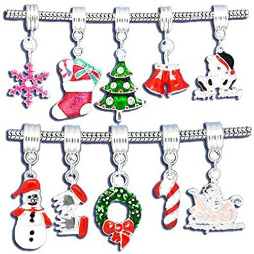 10 Christmas Beads for Snake Chain Charm Bracelet - Sexy Sparkles Fashion Jewelry