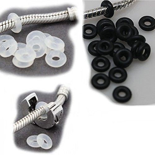 20 High Quality Mix Black & Clear Silicone Rubber Stopper Clip Over for snake Chain charm Bracelet - Sexy Sparkles Fashion Jewelry