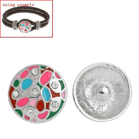 Chunk Snap Buttons Fit Chunk Bracelet Round Silver Tone Enamel Multi Clear Rhinestone Pattern Carved 20mm - Sexy Sparkles Fashion Jewelry - 2