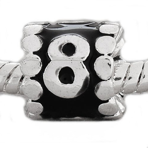 "Black Enamel Number Charm Bead  ""8"" European Bead Compatible for Most European Snake Chain Charm Bracelets - Sexy Sparkles Fashion Jewelry - 3"