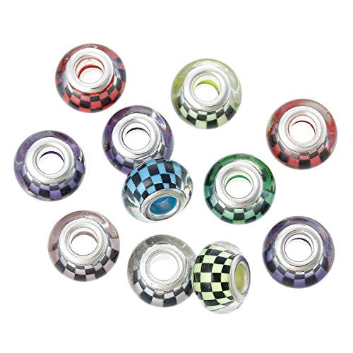 10 Pcs Lattice Pattern Murano Beads For Snake Chain Charm Bracelet - Sexy Sparkles Fashion Jewelry
