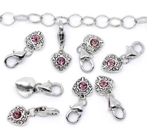 Antique Silver february Rhinestone Heart Clip On Charms. Fits Thomas Sabo 26x10mm. - Sexy Sparkles Fashion Jewelry - 3