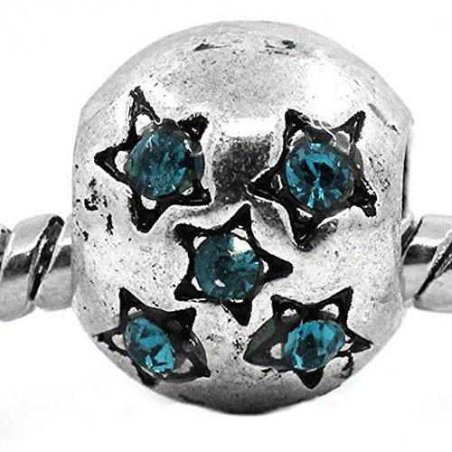 European Charm Beads Antique Silver Star Carved Light Blue Rhinestone