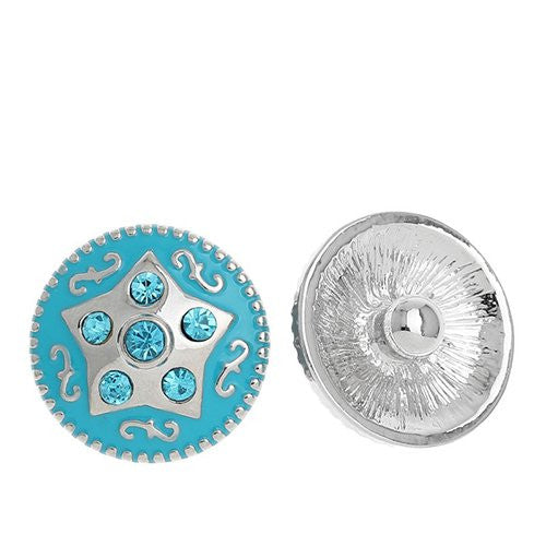 Chunk Snap Buttons Fit Chunk Bracelet Round Silver Tone Blue Rhinestone Enamel Blue Star Pattern Carved 20mm
