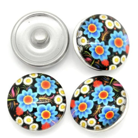 Multi Flower Pattern Glass Chunk Charm Button Fits Chunk Bracelet 18mm for Noosa Style Bracelet - Sexy Sparkles Fashion Jewelry - 3