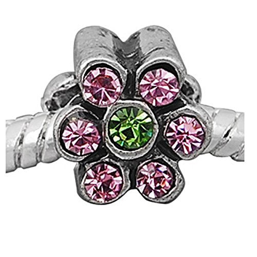 Flower with Pink and Green  Crystals European Bead Compatible for Most European Snake Chain Charm Bracelet