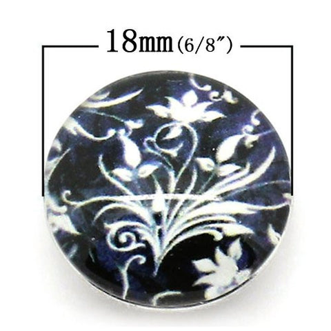 Black and White Flower Design Glass Chunk Charm Button Fits Chunk Bracelet - Sexy Sparkles Fashion Jewelry - 2