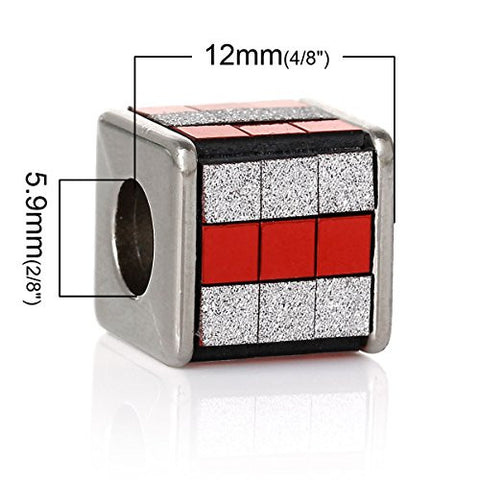 Red/White Cube Grid Pattern Charm Spacer Bead - Sexy Sparkles Fashion Jewelry - 3