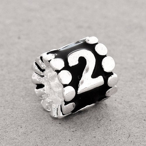 "Black Enamel Number Charm Bead  ""2"" European Bead Compatible for Most European Snake Chain Charm Bracelets - Sexy Sparkles Fashion Jewelry - 2"