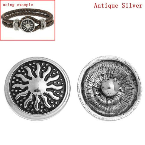 Chunk Snap Buttons Fit Chunk Bracelet Round Antique Silver Tone Sun Pattern Carved 20mm - Sexy Sparkles Fashion Jewelry - 2
