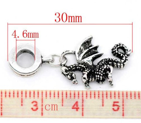 Flying Dragon 3d Dangle Charm European Bead Compatible for Most European Snake Chain Bracelet - Sexy Sparkles Fashion Jewelry - 3