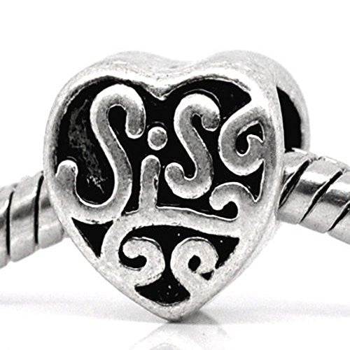 Family Heart Bead Charms for Snake Chain Bracelet (Sis)