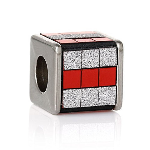 Red/White Cube Grid Pattern Charm Spacer Bead - Sexy Sparkles Fashion Jewelry - 1