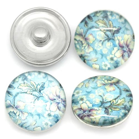 Flower Design Glass Chunk Charm Button Fits Chunk Bracelet 18mm for Noosa Style Bracelet - Sexy Sparkles Fashion Jewelry - 3