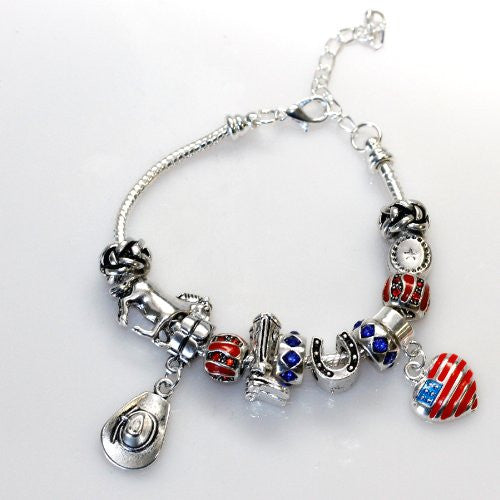 Country Cowgirl Theme Charm Style Bracelet Fits 7''-9''