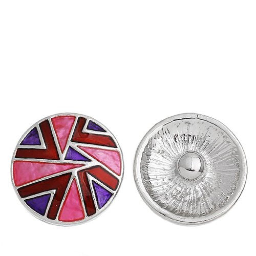 Chunk Snap Buttons Fit Chunk Bracelet Round Silver Tone Pattern Carved Enamel Red & Purple & Fuchsia 20mm