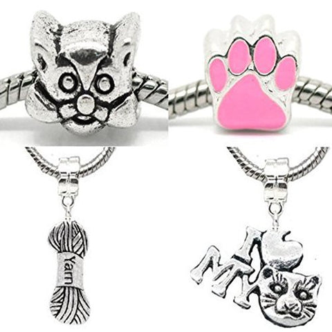 Cat Lovers Charm Beads For Snake Chain Bracelet - Sexy Sparkles Fashion Jewelry - 1