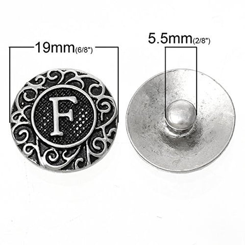 Alphabet Letter F Chunk Snap Button or Pendant Fits Snaps Chunk Bracelet - Sexy Sparkles Fashion Jewelry - 3