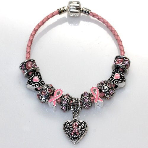 "8.5"" Genuine Leather Bracelet Pink Breast Cancer Awareness Charm Bracelet"