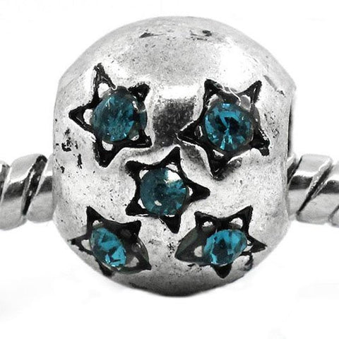European Charm Beads Antique Silver Star Carved Light Blue Rhinestone - Sexy Sparkles Fashion Jewelry - 4