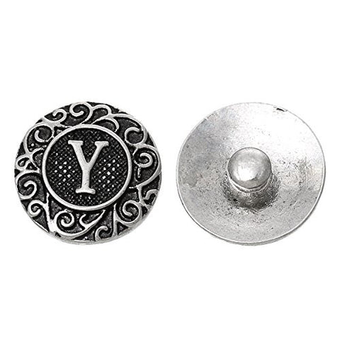 Alphabet Letter Y Chunk Snap Button or Pendant Fits Snaps Chunk Bracelet - Sexy Sparkles Fashion Jewelry - 1