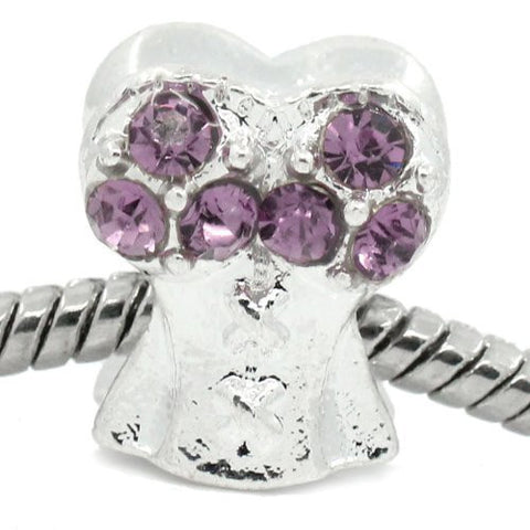 Purple Corset Top with Rhinestone Charm Bead Spacer For Snake Chain Bracelets - Sexy Sparkles Fashion Jewelry - 4
